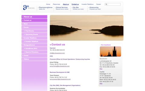 Screenshot of Contact Page a-plusscience.com - Contact us  - A+Science - captured Oct. 3, 2014