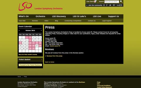 Screenshot of Press Page lso.co.uk - Press | London Symphony Orchestra - captured Oct. 3, 2014