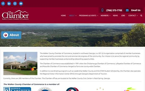 Screenshot of About Page walkercochamber.com - About - Walker County Chamber of Commerce - captured Oct. 18, 2018