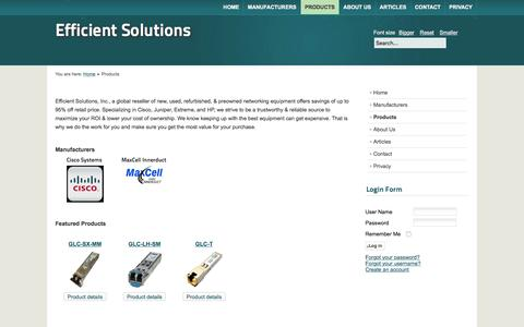 Screenshot of Products Page t3systemsinc.com - New, Used,  & Refurbished Cisco | Juniper | Extreme | HP - captured Feb. 17, 2016