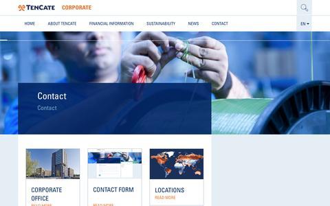 Screenshot of Contact Page tencate.com - Contact - TenCate Corporate - captured Jan. 19, 2018