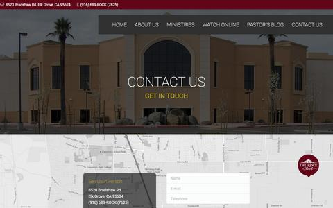 Screenshot of Contact Page therockchurch.org - The Rock Church |   Contact Us - captured Feb. 28, 2016