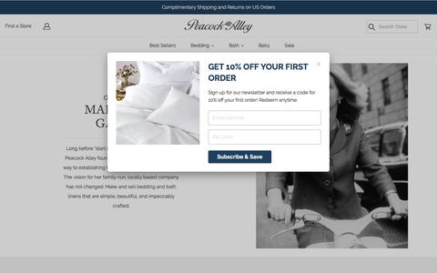 Screenshot of About Page peacockalley.com - About Peacock Alley - Purveyor of Luxury Bedding & Bath Products - captured July 14, 2019