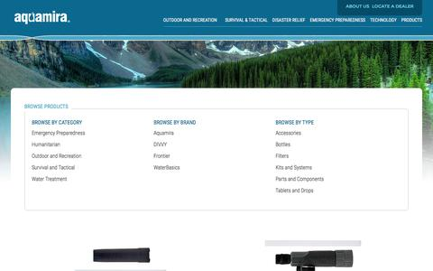 Screenshot of Products Page aquamira.com - Water Purification, Storage & Treatment Products | Aquamira - captured Jan. 16, 2016