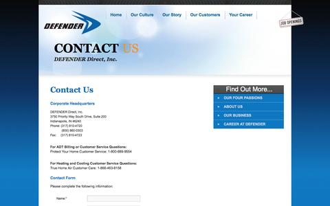 Screenshot of Contact Page defenderdirect.com - Contact Us | DEFENDER Direct - captured Sept. 24, 2014