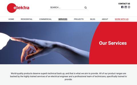 Screenshot of Services Page elektra.com.mt - Services - elektra.com.mt - captured Nov. 10, 2018