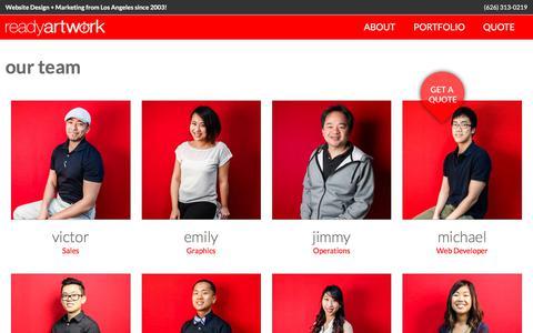 Screenshot of Team Page readyartwork.com - Professional Web Design Team - Ready Artwork Staff - captured June 11, 2017