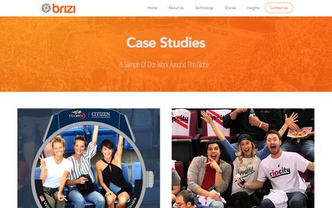 Screenshot of Case Studies Page brizicam.com - Brizi | Official Website | Monetize Fan Content in Sports | Case Studies - captured May 5, 2017