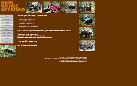 Screenshot of Home Page ironrangeoffroad.com - Iron Range Offroad's Home Page - captured Oct. 6, 2014