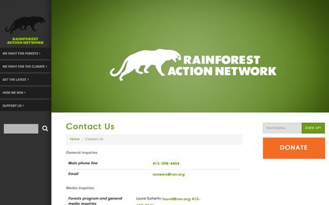 Screenshot of Contact Page ran.org - Contact Us - Rainforest Action Network - captured Dec. 7, 2015