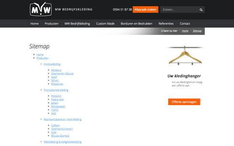 Screenshot of Site Map Page mwbedrijfskleding.nl - Sitemap | MW Bedrijfskleding - captured Oct. 3, 2014