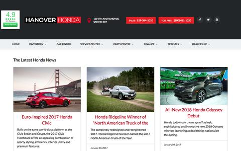 Screenshot of Press Page hanoverhonda.ca - Honda News - captured July 15, 2017