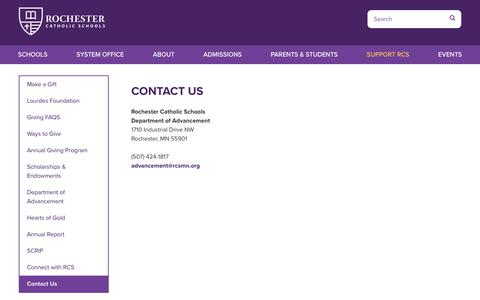 Screenshot of Contact Page rcsmn.org - Contact Us - Rochester Catholic Schools - captured July 1, 2018