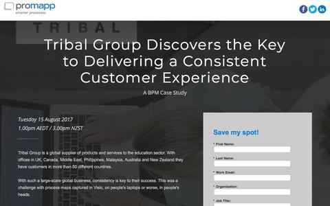 Screenshot of Landing Page promapp.com - Webinar: Tribal Group Discovers the Key to Delivering a Consistent Customer Experience - captured April 1, 2018