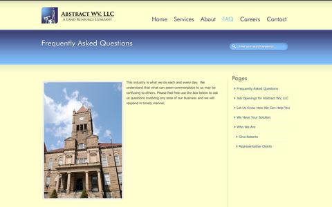 Screenshot of FAQ Page abstractwv.com - Frequently Asked Questions   Abstract WV, LLC - captured Oct. 2, 2018