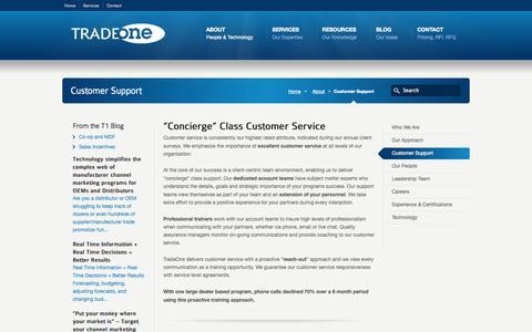 Screenshot of Support Page tradeonemktg.com - Customer Service Support   Tradeone Marketing, Inc. - captured Sept. 23, 2014