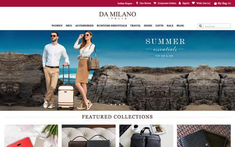 Screenshot of Home Page damilano.com - leather accessories India | Discounted handbags India - Da Milano - captured June 25, 2017
