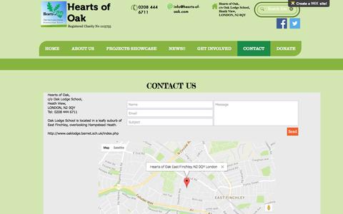 Screenshot of Contact Page hearts-of-oak.org - online-fundraising | CONTACT - captured May 16, 2017