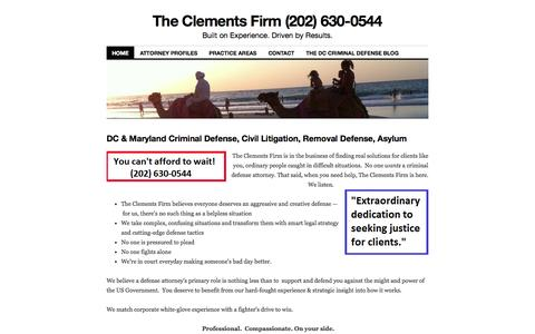 Screenshot of Home Page theclementsfirm.com - The Clements Firm (202) 630-0544   Built on Experience. Driven by Results. - captured Sept. 30, 2014