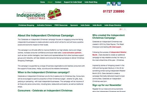 Screenshot of About Page indiechristmas.co.uk - About the Independent Christmas Campaign - captured March 23, 2016