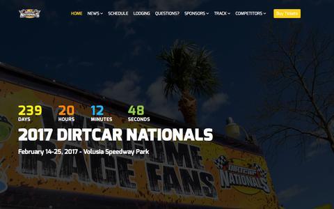Screenshot of Home Page dirtcarnationals.com - DIRTcarNationals.com - February 14-25, 2017 - #FLinFeb - captured June 20, 2016