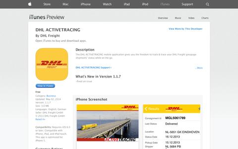 Screenshot of iOS App Page apple.com - DHL ACTIVETRACING on the App Store on iTunes - captured Oct. 26, 2014