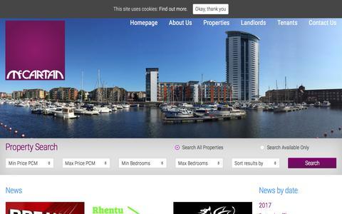 Screenshot of Press Page mccartanlettings.co.uk - News - McCartan Lettings & Property management - Swansea - captured Oct. 4, 2017