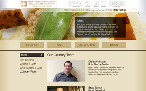 Screenshot of Team Page meetattexas.com - Culinary Team | Chef Josh Watkins | AT&T Executive Education and Conference Center - captured Oct. 4, 2014