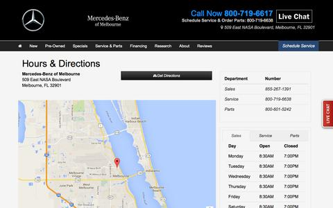 Screenshot of Hours Page mbmelbourne.com - Hours & Directions | Mercedes-Benz of Melbourne - captured Feb. 12, 2016