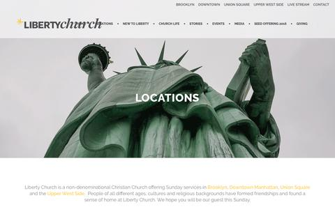 Screenshot of Services Page Locations Page libertychurchnyc.com - Locations | Liberty Church NYC - captured Dec. 5, 2016