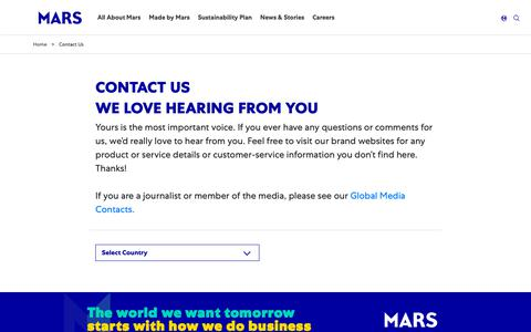 Screenshot of Contact Page mars.com - Contact Us | Mars, Incorporated - captured March 13, 2019