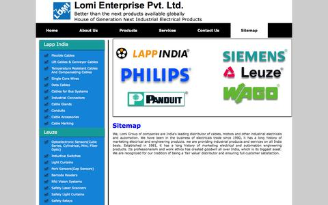 Screenshot of Site Map Page lomigroup.co.in - Lomi Group - Lapp India, Panduit, Wago, Simens, Electrical & lighting products - captured Oct. 27, 2014