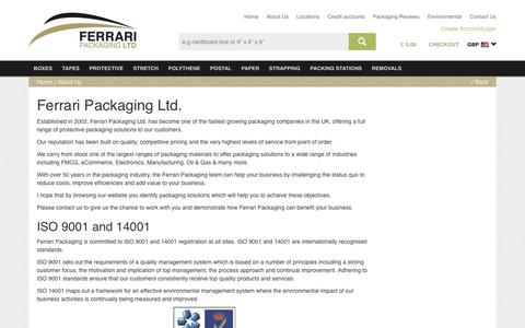 Screenshot of About Page ferraripackaging.co.uk - Packaging Solutions Distributor | Why Ferrari Packaging? - captured Feb. 7, 2016