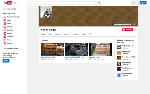 Screenshot of YouTube Page youtube.com - Florian Singer  - YouTube - captured Oct. 23, 2014