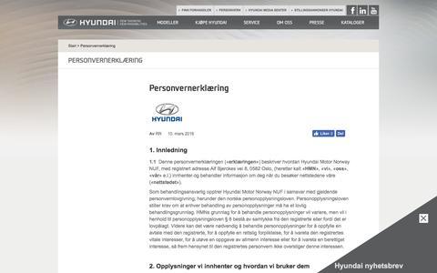 Personvernerklæring | Hyundai