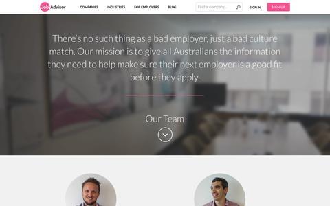 Screenshot of About Page Contact Page jobadvisor.com.au - About | JobAdvisor - captured Sept. 23, 2014