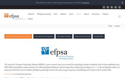 Screenshot of Services Page efpsa.org - Services - EFPSA - captured Nov. 9, 2018