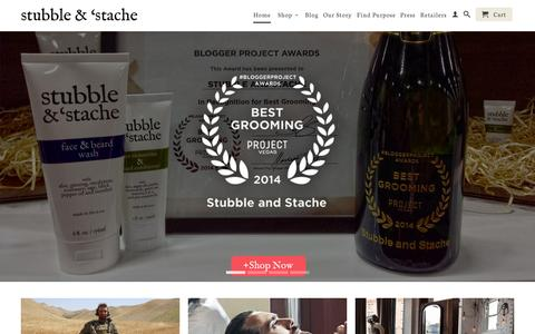 Screenshot of Home Page stubbleandstache.com - A new breed of skincare and beard grooming products for men - captured Oct. 8, 2014