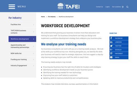 Workforce development - TAFE