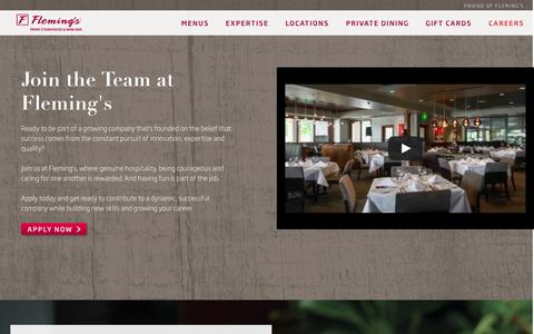 Screenshot of Jobs Page flemingssteakhouse.com - Careers - Fleming's Prime Steakhouse & Wine Bar - captured Sept. 25, 2014