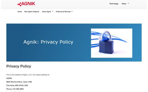 Screenshot of Privacy Page agnik.com - Agnik Privacy Policy - captured Oct. 4, 2014