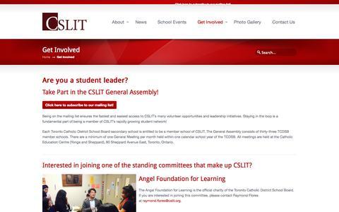 Screenshot of Signup Page cslit.org - Get Involved «  CSLIT – Catholic Student Leadership Impact Team - captured Sept. 26, 2014
