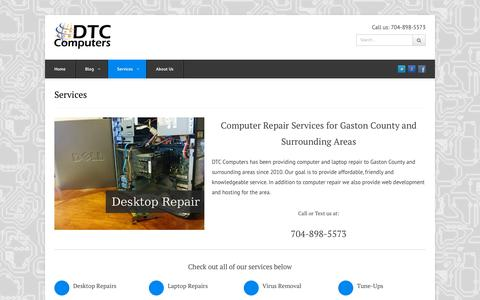 Screenshot of Services Page dtc-computers.com - Computer Repair Services | Gastonia PC Repair | DTC Computers - captured Aug. 5, 2018