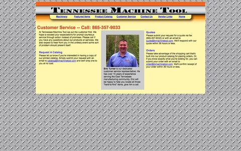 Screenshot of Support Page tnmachinetool.com - Tennessee Machine Tool Customer Service - captured Oct. 26, 2014
