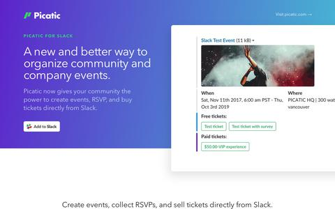 Screenshot of Landing Page picatic.com - Picatic for Slack: Create events and collect RSVPs in Slack - captured March 1, 2018