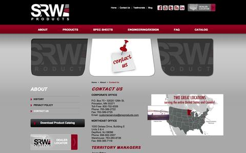 Screenshot of Contact Page srwproducts.com - Contact SRW Products | Locations of SRW Products | Territory Managers at SRW Products - captured Sept. 30, 2014