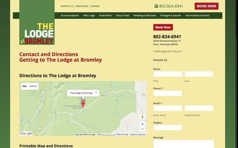 Screenshot of Maps & Directions Page lodgeatbromley.com - Directions and Contact Us - captured March 9, 2016
