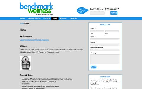 Screenshot of Press Page benchmarkwellness.com - Contact Benchmark Wellness for program best practices - captured Sept. 30, 2014