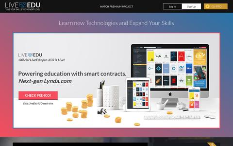 Screenshot of Home Page liveedu.tv - Improve your Job Skills by Practicing and Learning with Real Projects - LiveEdu.tv - captured Dec. 6, 2017