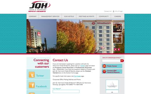 Screenshot of Contact Page jqhhotels.com - Contact Us | John Q. Hammons Hotels & Resorts - captured Sept. 25, 2014